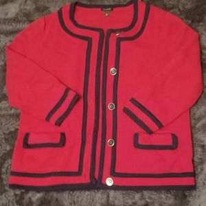 NWOT Talbots Cherry Red & Navy Blue Sweater Jacket